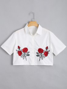 Button Down Floral Embroidered Cropped Shirt - White M