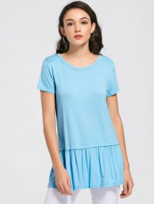 Round Collar Ruched Plain Tee - Sky Blue M