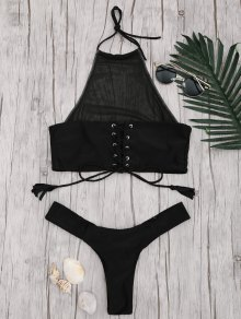 Mesh High Neck Lace Up Bikini Set - Black L