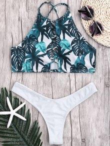 Leaf Thong Ruched Strappy Bikini - White S