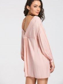 V Neck Button Up Mini Dress - Pink S
