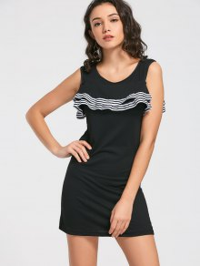 Buy Flounces Layered Mini Dress - BLACK L