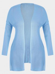 Open Front Plus Size Slit Cardigan - Light Blue Xl