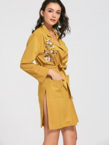 Floral Embroidered Belted Trench Coat - Yellow S