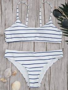 Padded Striped Bralette Scoop Bikini Set - Blue And White S