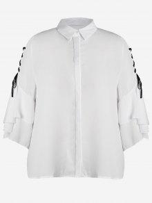 Plus Size Lace Up Sleeve Chiffon Shirt - White Xl
