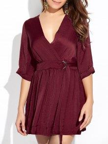 Wrap A-Line Dress - Wine Red L