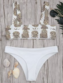 Square Neck Pineapple Print Bikini Set - White S