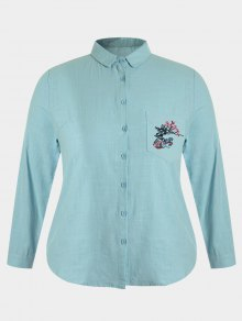 Plus Size Pocket Embroidered Shirt - Blue Green 4xl