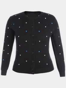 Heart Embroidered Plus Size Knitwear - Black 4xl