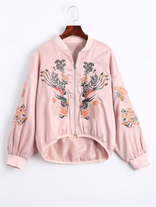 Floral Embroidered High Low Bomber Jacket - Pink S