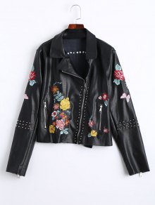 Floral Embroidered PU Leather Biker Jacket - Black S