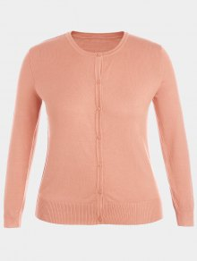 Plus Size Single Breasted Knitwear - Pink Xl