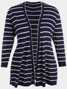 Plus Size Striped Open Front Cardigan - Purplish Blue 4xl
