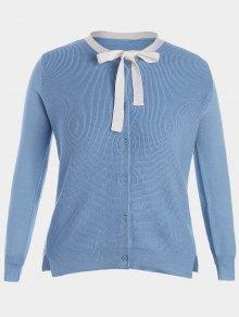 Side Slit Bow Tie Plus Size Knitwear - Azure Xl