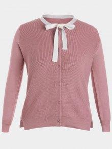Side Slit Bow Tie Plus Size Knitwear - Pink 3xl