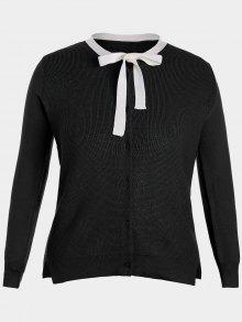 Side Slit Bow Tie Plus Size Knitwear - Black 4xl
