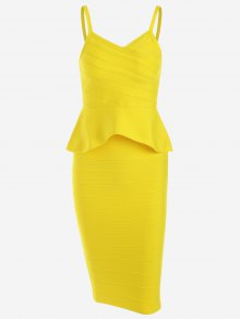 Flounce Cami Top And Bandage Skirt Set - Yellow L