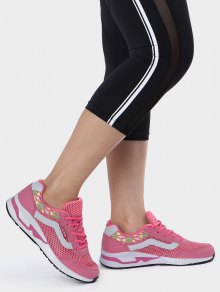 Breathable Geometric Pattern Mesh Athletic Shoes - Peach Red 38