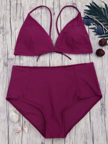 High Waisted Plus Size Bikini Set - Merlot Xl