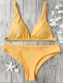 Padded Plunge Bikini Top And Bottoms - Mustard S