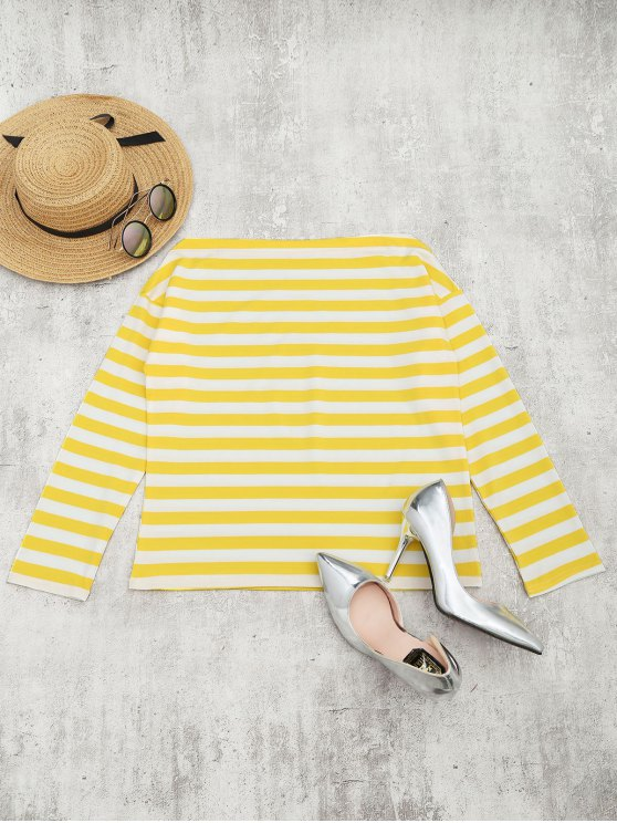women Off The Shoulder Striped Drop Shoulder Tee - YELLOW XL