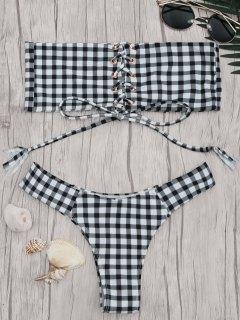 Gingham Lace Up Bandeau Bikini Set - White And Black M