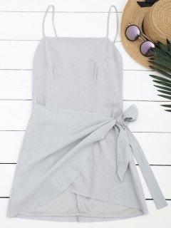 Slit Knotted Mini Slip Dress - Gray M