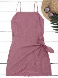 Slit Knotted Mini Slip Dress - Russet-red M