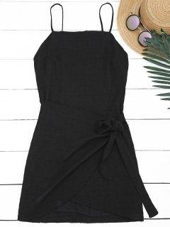 Slit Knotted Mini Slip Dress - Black M
