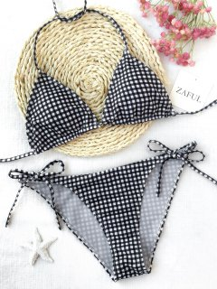 Plaid Halter String Bikini Set - Plaid S