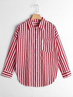 Chemise De Poche à Rayures à épaule Boutonnée - Rouge Bande L