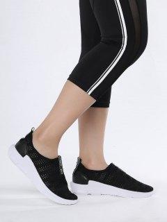 Breathable Mesh Letter Pattern Athletic Shoes - Black 41