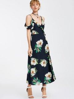 Floral Cold Shoulder Wrap Maxi Dress - Purplish Blue M