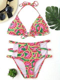 Watermelon Print Cutout High Waisted Bikini Set - S