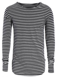 Striped Long Sleeve Mens Jersey Top - Black And Grey Xl