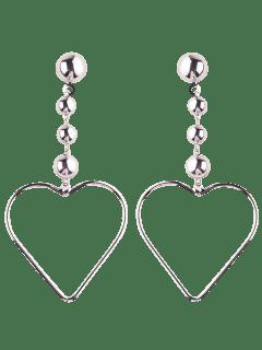 Hollow Out Heart Drop Earrings - Silver