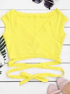 Crossover Ribbed Wrap Top - Yellow S