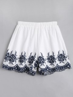 Floral Embroidered High Waisted Shorts - White L
