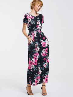 Floral Print Round Collar Maxi Dress - Black Xl