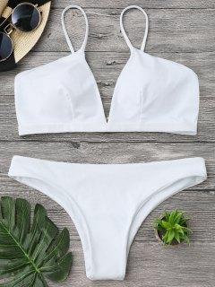 Padded Cami Plunge Bathing Suit - White M
