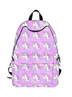 Cartoon Unicorn Print Backpack - Light Purple