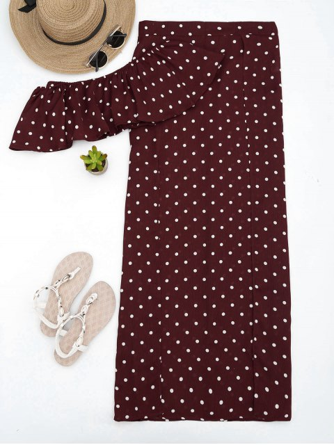 ladies Polka Dot Off Shoulder Cropped Top and Maxi Skirt - WINE RED M Mobile