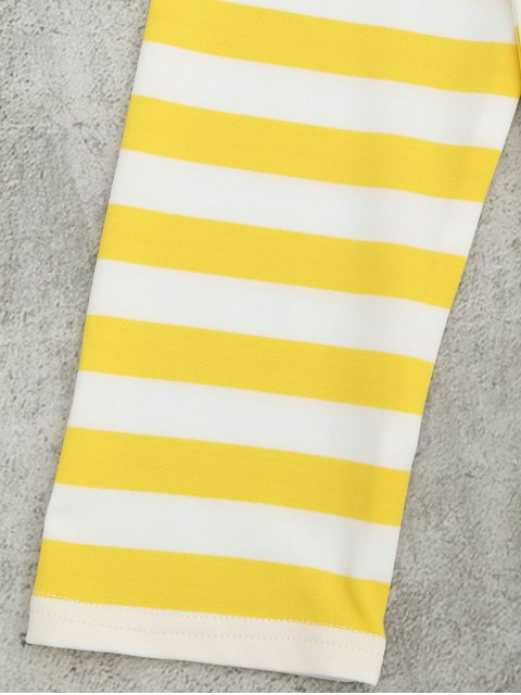 women Off The Shoulder Striped Drop Shoulder Tee - YELLOW XL Mobile
