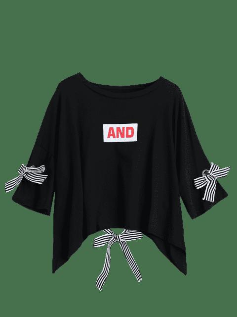 ladies Drop Shoulder Letter Print Tee - BLACK ONE SIZE Mobile