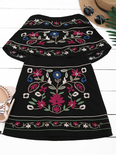 unique Overlay Floral Embroidered Tube Dress - BLACK M Mobile