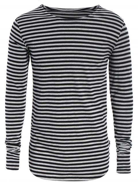 affordable Striped Long Sleeve Mens Jersey Top - BLACK AND GREY L Mobile