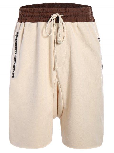 Zip Pockets Jogger Terry Sweat Shorts - Kaki L Mobile