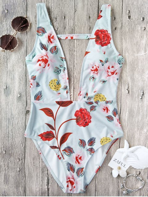 fashion One Piece Plunging High Cut Floral Swimwear - WHITE S Mobile