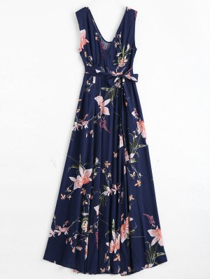 Vestido Maxi Surplice Floral Con Alta Flectura - Azul Purpúreo M